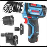 Bosch akumulatorska bušilica - odvrtač sa izmenljivim glavama GSR 12V-15 FC+GFA 12-B+GFA 12-E+GFA 12-W+GFA 12-X; 2x2,0Ah; L-Boxx (06019F6000)  Cene