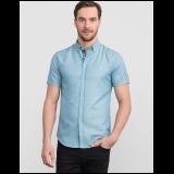 Slim fit jednobojna plava košulja dugih rukava sa kragnom