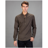 Slim fit jednobojna braon košulja dugih rukava sa kragnom